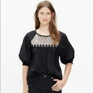 Madewell star flower embroidered peasant t…